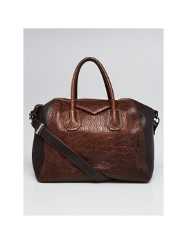 Brown Embossed  Leather Medium Antigona Bag by Givenchy