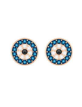 Swarovski Rose Gold Tone Evil Eye Crystal Circle Stud Earrings by Beaverbrooks