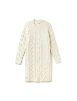 Women's Alpaga And Wool Cable Knit Sweater Dress by Lacoste