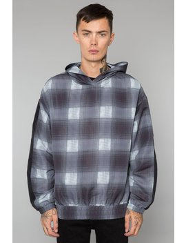 Black Shadow Plaid Matte Nylon Track Hoodie by Elwood Clothing