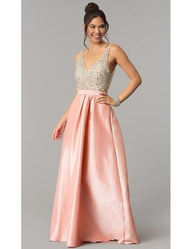 V Neck Long A Line Prom Dress With Illusion Bodice by Promgirl