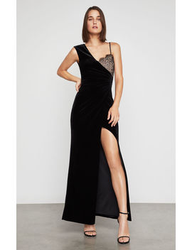 Lace Trimmed Velvet Gown by Bcbgmaxazria