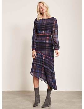 Lizzie Print Check Midi Dress by Mint Velvet