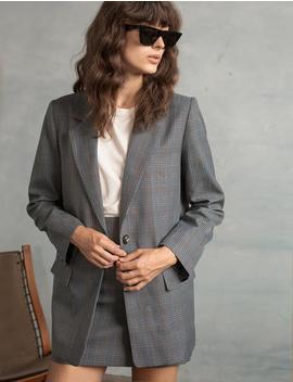 Grey Plaid Blazer by Pixie Market