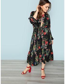 Übergroßes Kleid Mit Schlitz Vorn by Shein