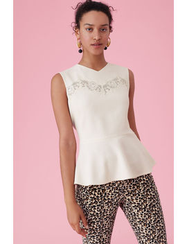 Crepe & Lace Peplum Top by Rebecca Taylor
