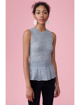 Smocked Rib Peplum Pullover by Rebecca Taylor