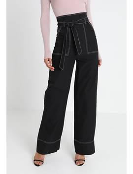 Contrast Tie Waist Wide Trousers   Spodnie Materiałowe by Missguided