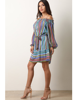 Striped Chiffon Long Puffed Sleeves Off Shoulder Shift Dress by Urbanog