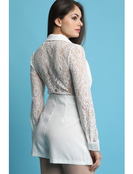 Lace Sleeves Suit Jacket Romper by Urbanog
