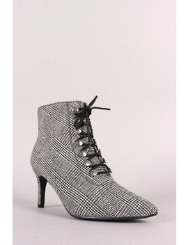 Bamboo Houndstooth Pointy Toe Lace Up Stiletto Booties by Urbanog