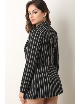 Pinstriped Button Chain Blazer With Shorts Set by Urbanog