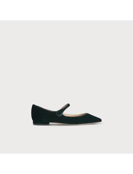 Mary Jane Green Velvet Flats by L.K.Bennett