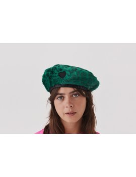 Lazy Oaf Green Leopard Fur Beret by Lazy Oaf