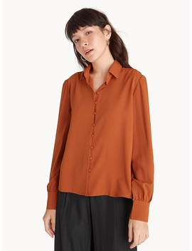 Loose Button Down Puffed Sleeve Shirt   Orange by Pomelo