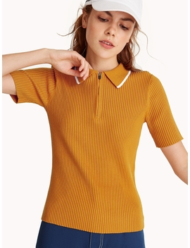Ribbed Polo Shirt   Yellow by Pomelo