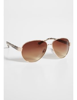 Aviator Sunglasses In Leopard Print by Maurices