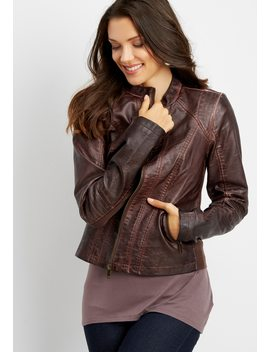 Faux Leather Brown Jacket by Maurices