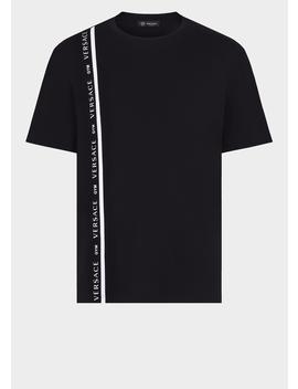 T Shirt Avec Bande Logo Versace by Versace