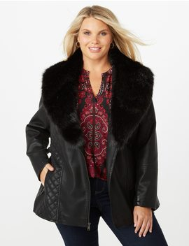 Plus Size Quilted Faux Leather Fur Trim Jacket by Dressbarn