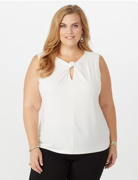 Plus Size Knotted Keyhole Top by Dressbarn