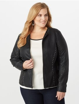Plus Size Faux Leather Studded Jacket by Dressbarn