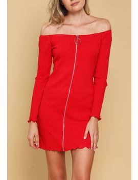 Zipper Up Bodycon Dress by Papaya