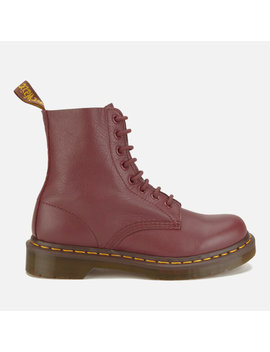 Dr. Martens Women's Pascal Virginia Leather 8 Eye Lace Up Boots   Cherry Red by The Hut