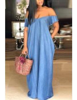 Roaso Casual Bateau Neck Baby Blue Denim Floor Length Dress by Roaso