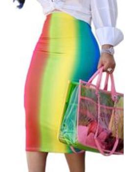 Roaso Sexy Rainbow Printed Mid Calf Skirts by Roaso