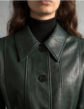Hunter Green Leather Trench by Pixie Market