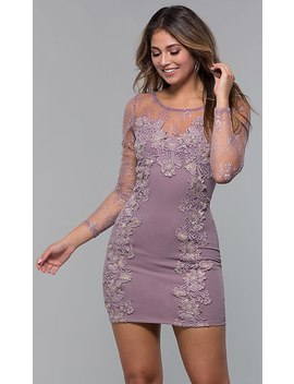 Long Sleeve Lace Appliqued Short Party Dress by Promgirl