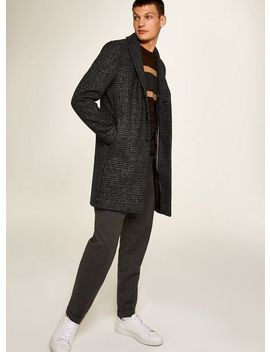 Selected Homme Grey Check Wool Rich Coat by Topman