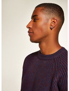 Burgundy And Navy Stitch Jumper by Topman