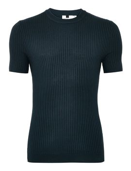 Navy Muscle Ribbed Jumper by Topman