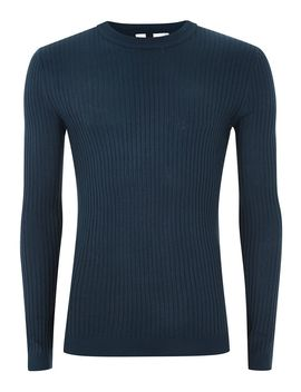 Royal Blue Muscle Ribbed Jumper by Topman
