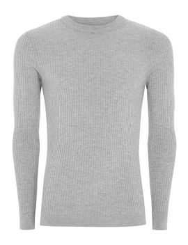 Grey Marl Ribbed Muscle Fit Jumper by Topman