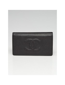 Black Caviar Leather Timeless Cc L Yen Wallet by Chanel