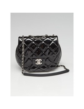 Black Quilted Patent Leather Chain Crossbody Bag by Chanel
