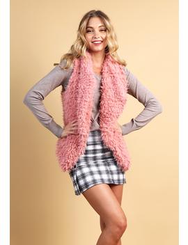 Fuzzy Faux Fur Open Front Vest by Papaya