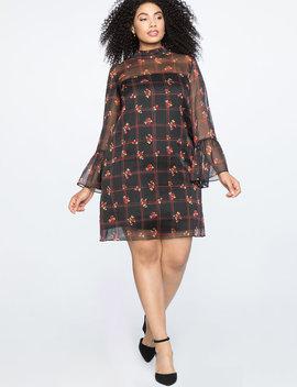 Ruffle Detail Dress With Sheer Yoke by Eloquii