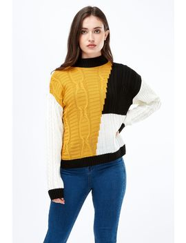 Colour Block Cable Detail Jumper by Select