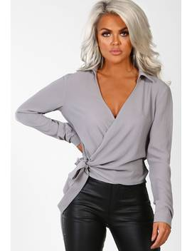 A Little Luxury Grey Wrap Tie Front Blouse by Pink Boutique