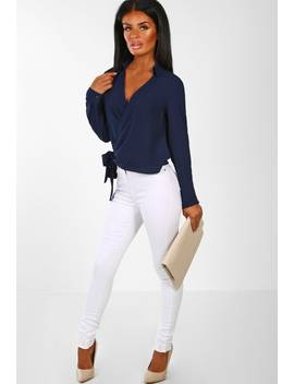 A Little Luxury Navy Wrap Tie Front Blouse by Pink Boutique
