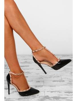 Rebel Rebel Black Patent Studded T Bar Stiletto Heels by Pink Boutique