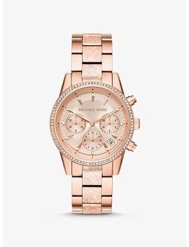 Ritz Pavé Textured Rose Gold Tone Watch by Michael Kors