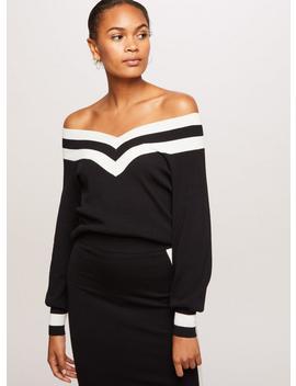 Black Sports Striped Knitted Bardot Top by Miss Selfridge