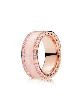 Hearts Of Pandora Ring, Pandora Rose™, Cream Enamel & Clear Cz Pandora Rose, Enamel, Pink, Cubic Zirconia by Pandora