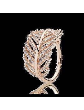 Light As A Feather Ring, Pandora Rose™ & Clear Cz Pandora Rose, Cubic Zirconia by Pandora