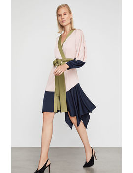 Asymmetrical Colorblocked Wrap Dress by Bcbgmaxazria